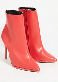 Red Faux Leather Studded Pointed Stiletto Booties