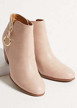 Nude Faux Leather Slit Zip Heeled Booties