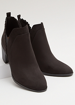 Black Faux Suede Side Slit Whip Stitch Booties