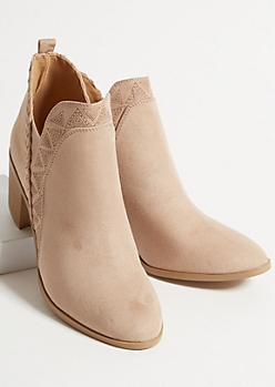 Beige Faux Suede Side Slit Whip Stitch Booties