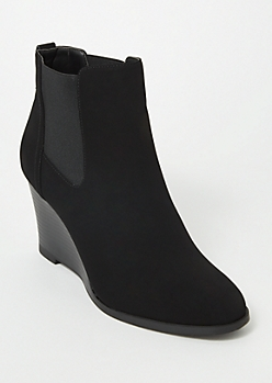 Black Side Gore Wedge Booties
