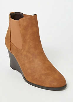 Cognac Side Gore Wedge Booties