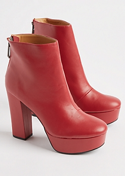 Red Faux Leather Platform Booties