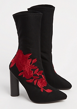 Black Embroidered Red Rose Sock Booties
