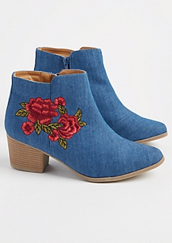 Denim Embroidered Red Rose Booties