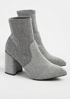 Silver Metallic Pointed Toe Booties
