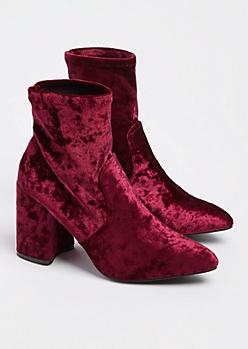 Burgundy Pointed Toe Booties