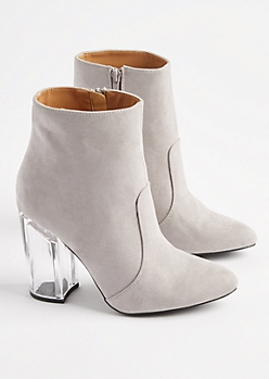 Gray Faux Leather Clear Heeled Booties