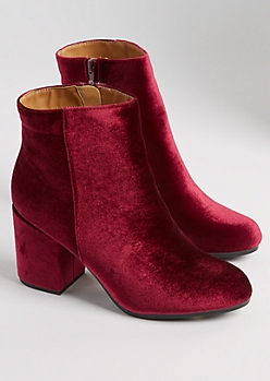 Burgundy Faux Suede Ankle Booties