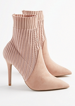 Pink Cable Knit Stiletto Booties