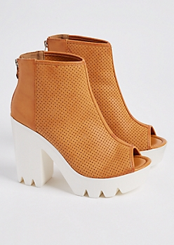Camel Perforated Peep Toe Platform Booties