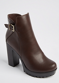 Brown Faux Leather Buckled Booties