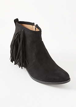 Black Western Fringe Booties