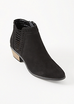 Black Cutout Side Whipstitched Booties