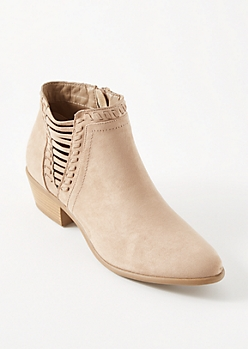 Sand Cutout Side Whipstitched Booties