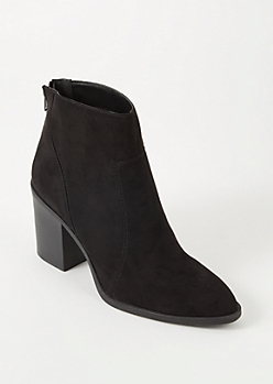 Black Faux Suede Stitched Booties