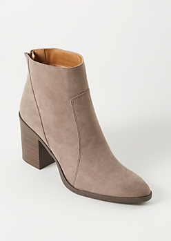 Taupe Faux Suede Stitched Booties