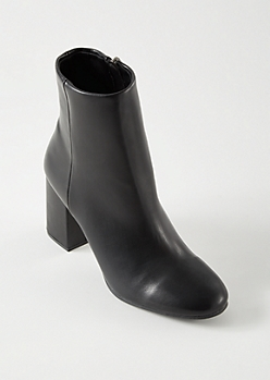 Black Faux Leather High Shaft Booties
