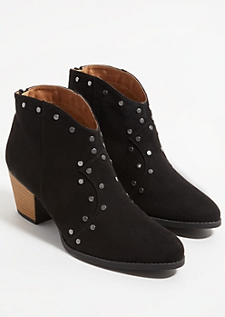 Black Faux Suede Studded Booties