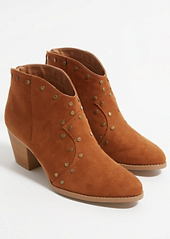 Cognac Faux Suede Studded Booties