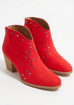 Red Faux Suede Studded Booties