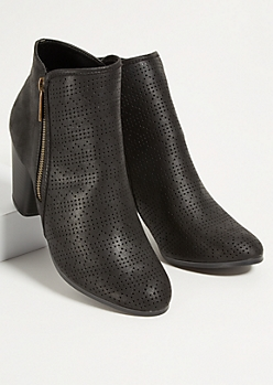 Black Perforated Side Zip Stacked Heel Booties