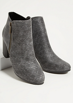 Gray Perforated Side Zip Stacked Heel Booties