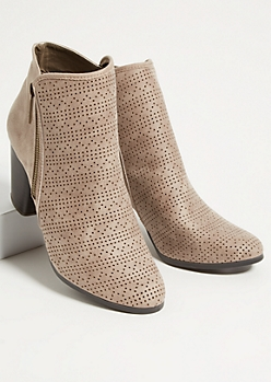 Beige Perforated Side Zip Stacked Heel Booties