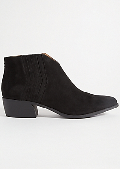 Black V Front Faux Suede Booties