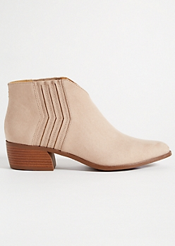 Beige V Front Faux Suede Booties