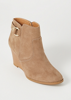 Tan Faux Suede Buckle Wedges