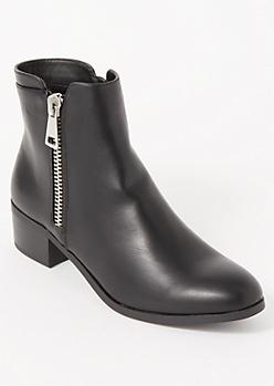 Black Side Zip Short Booties