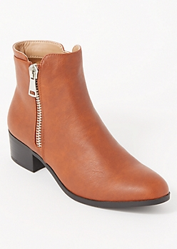 Cognac Side Zip Short Booties