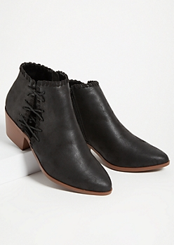 Black Lace Up Ankle Booties