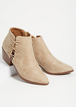 Sand Lace Up Ankle Booties