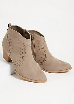 Taupe Western Heeled Ankle Booties
