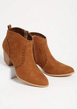Cognac Western Heeled Ankle Booties