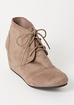 Taupe Faux Suede Wedge Booties