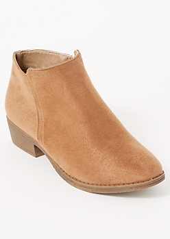 Taupe Faux Suede Short Booties