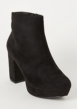 Black Faux Suede Platform Booties
