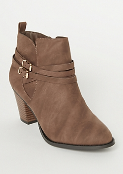 Brown Double Buckle Stacked Booties