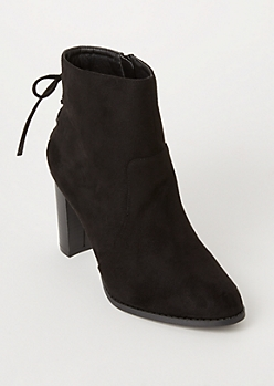 Black Lace Up Back Faux Suede Booties