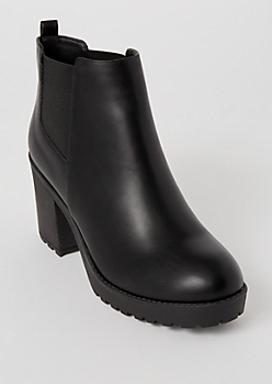Black Side Gore Heeled Lug Booties