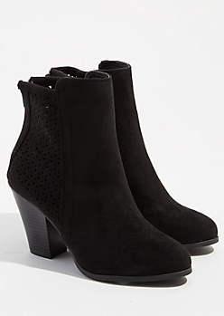 Black Perforated Stacked Heel Booties