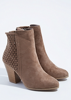 Taupe Perforated Stacked Heel Booties