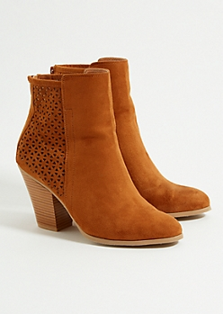 Cognac Perforated Stacked Heel Booties