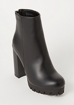 Black Faux Leather Lug Sole Heeled Booties
