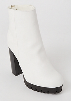 White Heeled Lug Booties