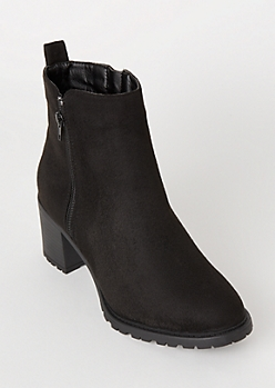 Black Faux Suede Lug Booties
