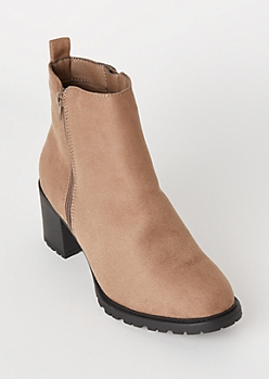 Taupe Faux Suede Lug Booties